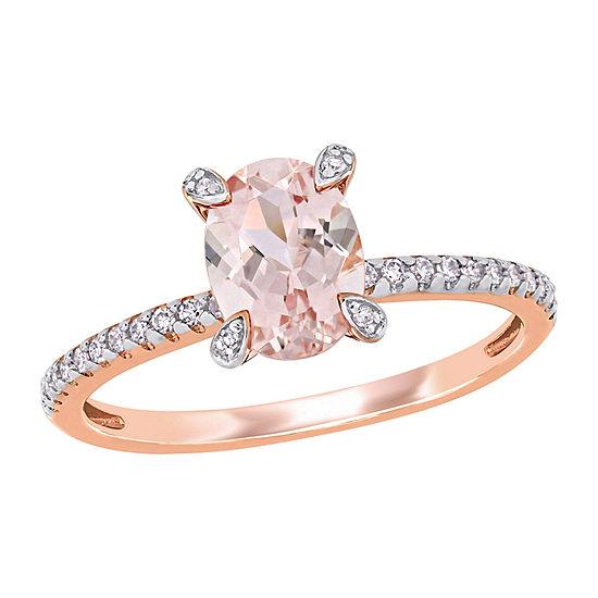 Modern Bride Gemstone Womens 1/10 CT. T.W. Genuine Pink Morganite 10K Rose Gold Engagement Ring