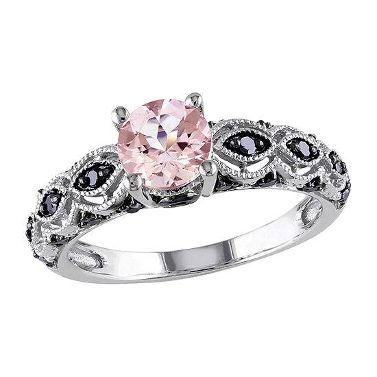 Modern Bride Gemstone Womens 1/4 CT. T.W. Lab Created Pink Morganite 10K White Gold Engagement Ring