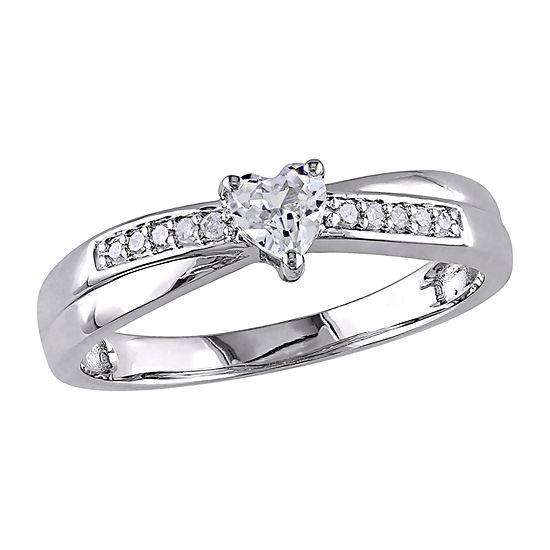 Modern Bride Gemstone Womens Diamond Accent Lab Created White Sapphire Sterling Silver Engagement Ring