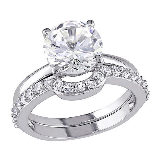 Modern Bride Gemstone Womens Lab Created White Sapphire 10K White Gold Bridal Set