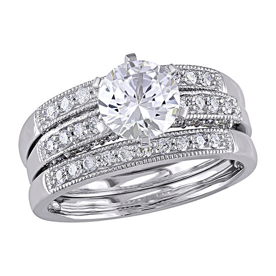 Modern Bride Gemstone Womens 3/8 CT. T.W. Lab Created White Sapphire 10K White Gold Bridal Set
