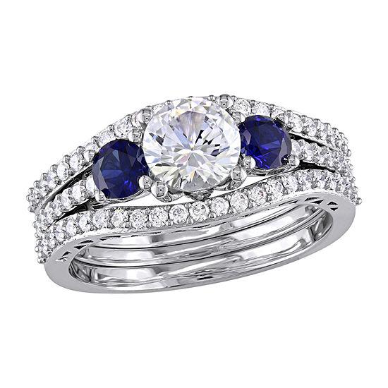 Modern Bride Gemstone Womens 1/2 CT. T.W. Lab Created White Sapphire 10K White Gold Bridal Set