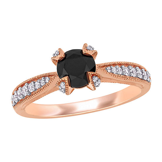 Womens 1/5 CT. T.W. Genuine Black Diamond 14K Rose Gold Solitaire Engagement Ring