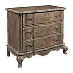 Traditional Style Distressed Pecan 3-Drawer Accent Storage Chest