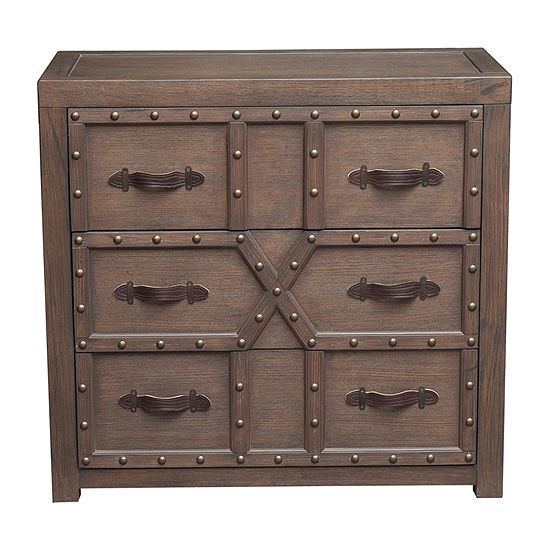 Traditional Styled 3-Drawer Nail Head Accent Chest With Industrial Influence