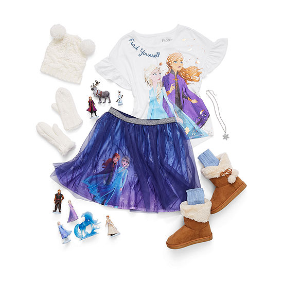 Fearless by Nature Girl's: Graphic T-Shirt with Tutu Skirt and Winter Boots