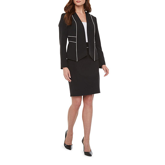 Black Label by Evan-Picone Long Sleeve Contrast Trim Suit Jacket or Suit Skirt