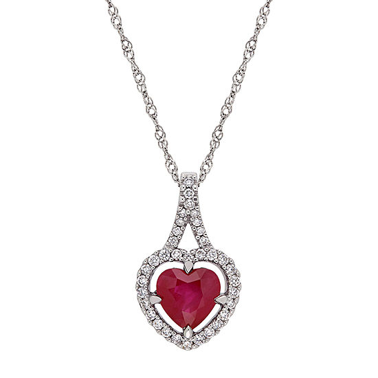 Womens 1/5 CT. T.W. Lead Glass-Filled Red Ruby 14K White Gold Heart Pendant Necklace