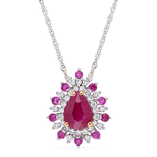 Womens 1/4 CT. T.W. Lead Glass-Filled Red Ruby 14K Two Tone Gold Pendant Necklace
