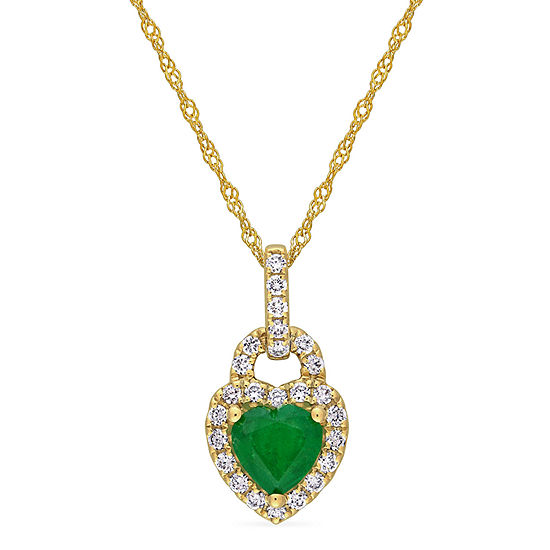 Womens 1/4 CT. T.W. Genuine Green Emerald 14K Gold Pendant Necklace