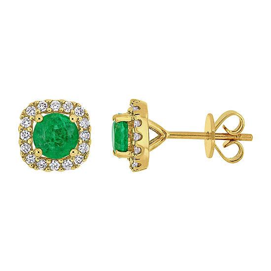 1/4 CT. T.W. Genuine Green Emerald 14K Gold Ear Pins