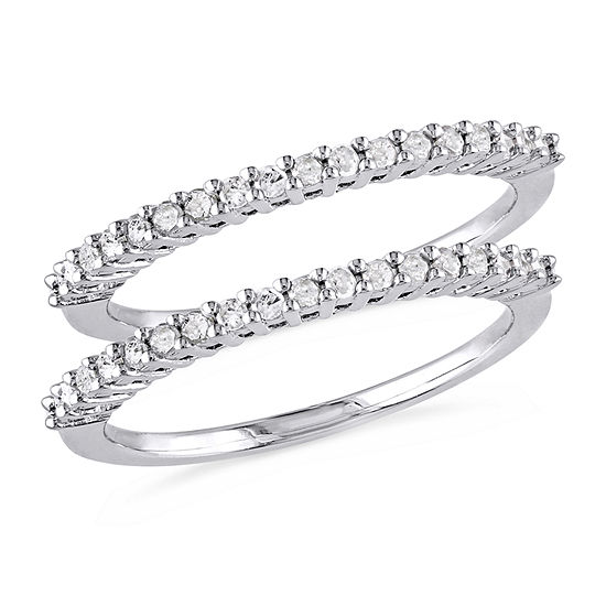 Womens 3MM 1/3 CT. T.W. Genuine White Diamond Sterling Silver Band