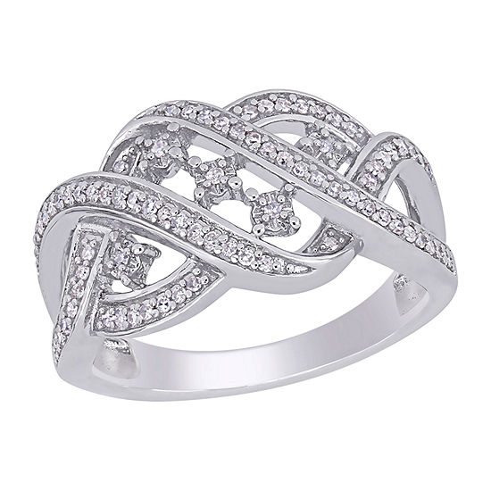 Womens 2.5MM 1/4 CT. T.W. Genuine White Diamond Sterling Silver Band