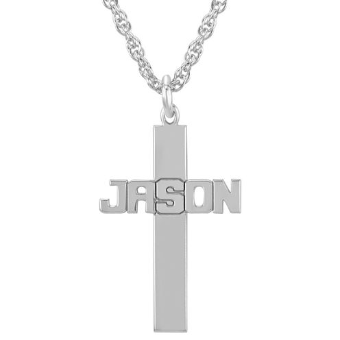 Personalized Sterling Silver Cross Pendant Necklace