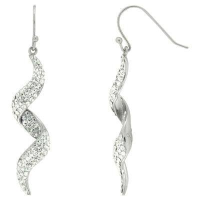 Crystal Swirl Dangle Earrings In Sterling Silver