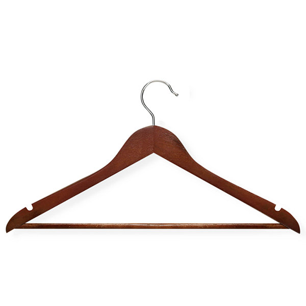 Honey-Can-Do® No Slip Wooden Coat Hangers, Cherry Wood (24 Pack)