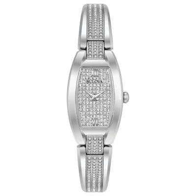 Bulova Crystal Accent Womens Silver Tone Bracelet Watch-96l235