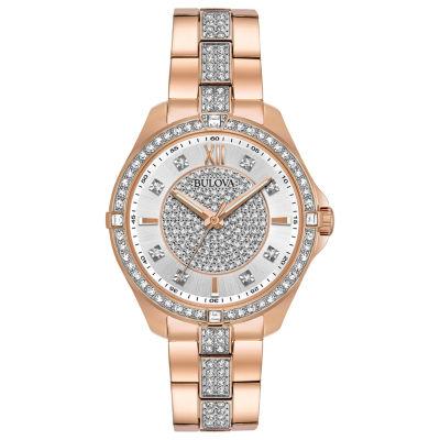 Bulova Crystal Accent Womens Rose Goldtone Bracelet Watch-98l229