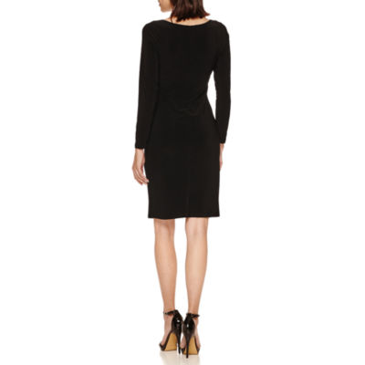 Tiana B Long Sleeve Faux-Wrap Sheath Dress-Petites