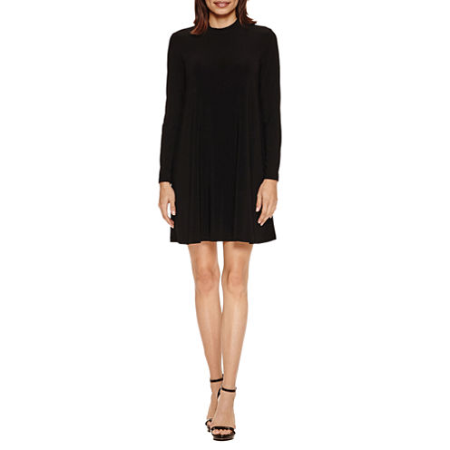 Tiana B Long Sleeve Mock-Neck A-Line Dress-Petites
