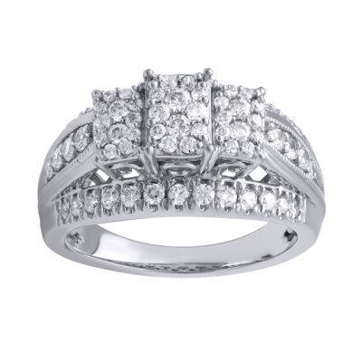 Womens 1 CT. T.W. Round White Diamond 10K Gold Engagement Ring