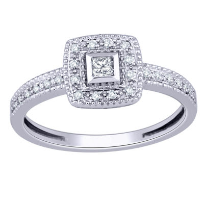 Womens 1/6 CT. T.W. Princess White Diamond 10K Gold Promise Ring