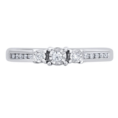 Womens 1/10 CT. T.W. Round White Diamond 10K Gold Engagement Ring