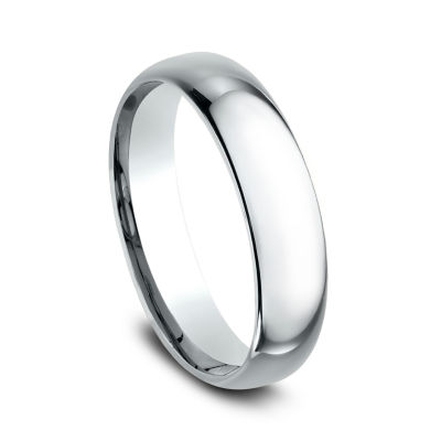 Mens 18K White Gold 5MM Comfort-Fit Wedding Band