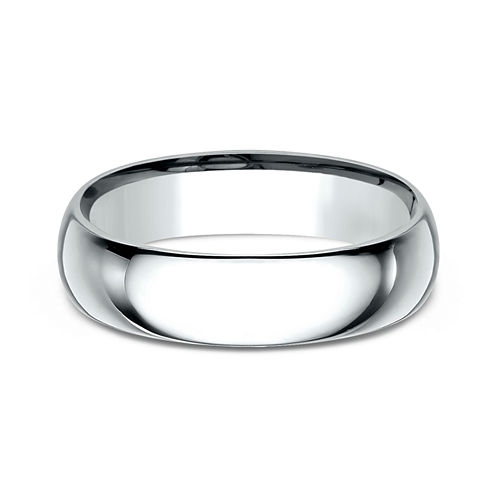Mens 18K White Gold 6MM Comfort-Fit Wedding Band