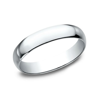 Womens 4MM 10K White Gold Wedding Band