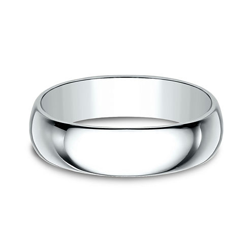 Mens 6MM 10K White Gold Wedding Band