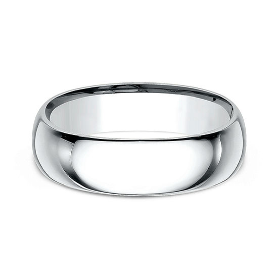 Mens 18K White Gold 7MM Comfort-Fit Wedding Band