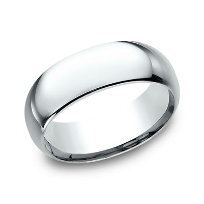 Mens 18K White Gold 8MM Comfort-Fit Wedding Band