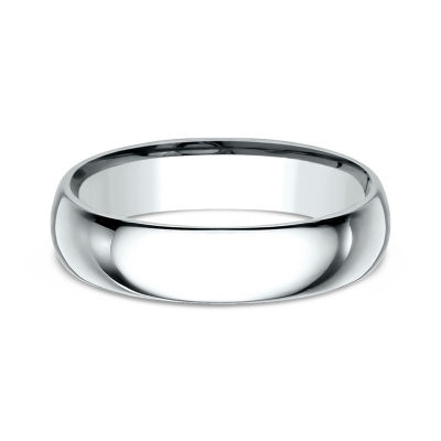 Mens 10K White Gold 5MM Comfort-Fit Wedding Band