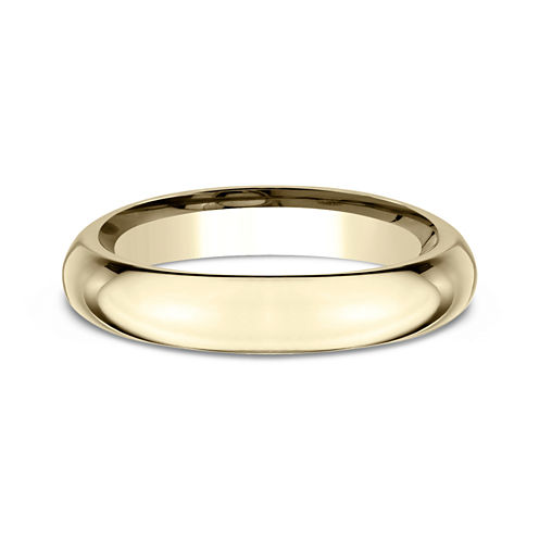 Womens 18K Yellow Gold 4MM High Dome Comfort-Fit Wedding Bandd