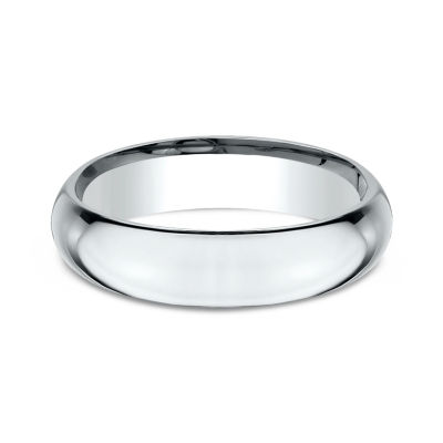 Mens 18K White Gold 5MM High Dome Comfort-Fit Wedding Band