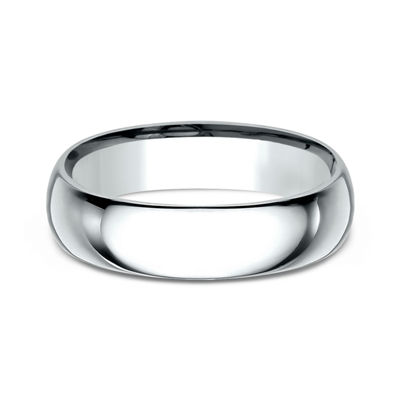 Mens 10K White Gold 6MM Comfort-Fit Wedding Band