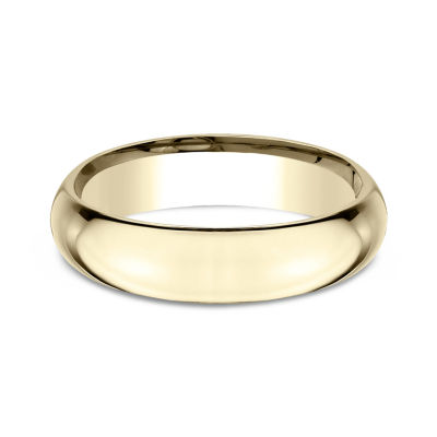 Mens 18K Yellow Gold 5MM High Dome Comfort-Fit Wedding Band