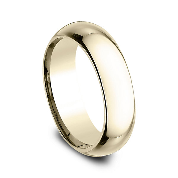 Mens 18K Yellow Gold 6MM High Dome Comfort-Fit Wedding Band