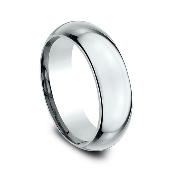 Mens 18K White Gold 7MM High Dome Comfort-Fit Wedding Band