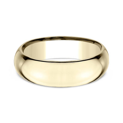Mens 18K Yellow Gold 7MM High Dome Comfort-Fit Wedding Band