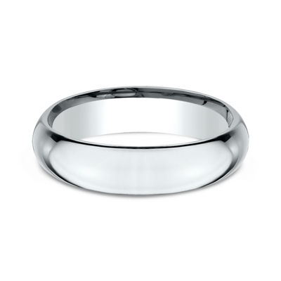 Mens 14K White Gold 5MM High Dome Comfort-Fit Wedding Band