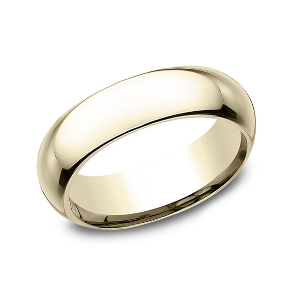 Mens 14K Yellow Gold 6MM High Dome Comfort-Fit Wedding Band