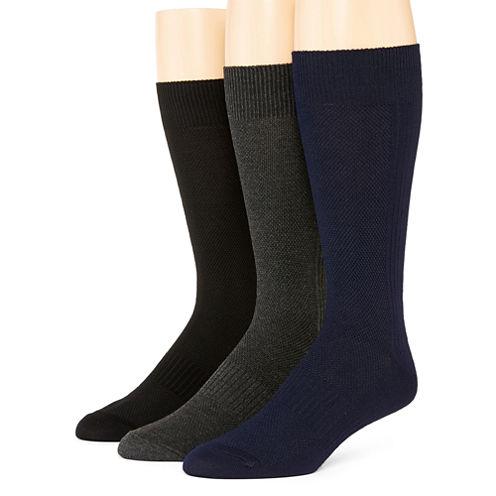 Stafford® Mens 3-pk. Casual Performance Mesh Rib Crew Socks