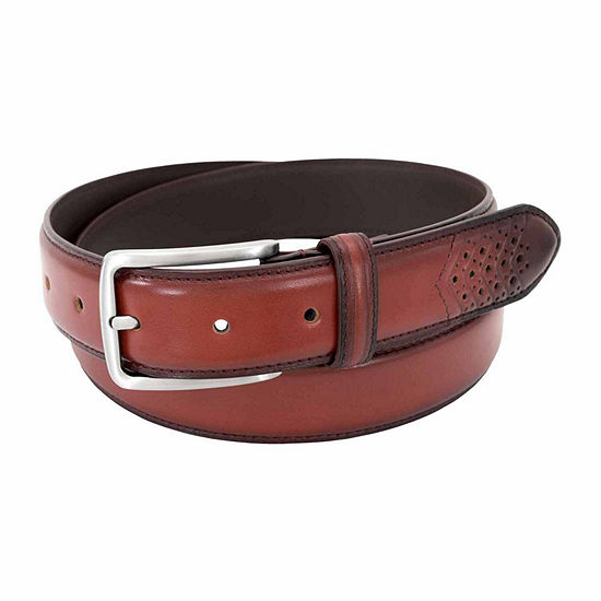 Stacy Adams® Burnished Leather Perforated Wing Tip Belt