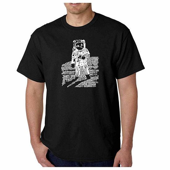Los Angeles Pop Art Astronaut Short Sleeve Word Art T-Shirt - Big and Tall