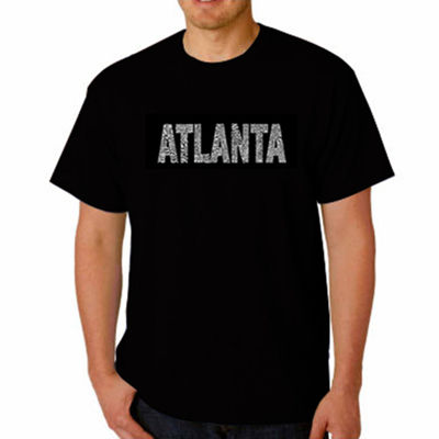 Los Angeles Pop Art Atlanta Neighborhoods Short Sleeve Word Art T-Shirt - Big and Tall