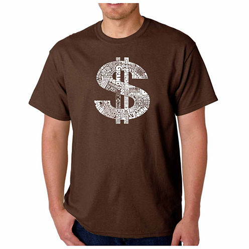 Los Angeles Pop Art Dollar Sign Short Sleeve Crew Neck T-Shirt-Big And Tall