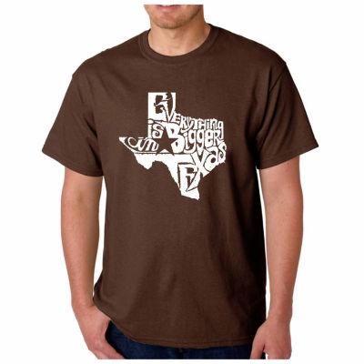 Los Angeles Pop Art Texas Short Sleeve Word Art T-Shirt-Men's Big and Tall