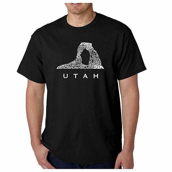 Los Angeles Pop Art Utah Short Sleeve Word Art T-Shirt-Men's Big and Tall